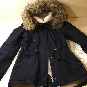 H&M Navy hooded coat